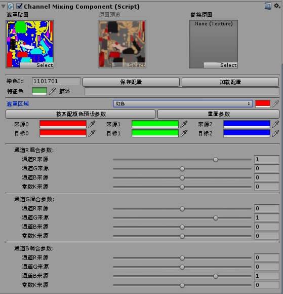 用于调整染色的ChannelMixingComponet组件